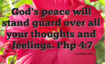 Let God's peace guard our hearts.