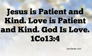Love is patient and kind.