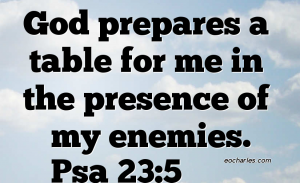 God prepares a table for me in the presence of my enemies.