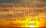What I Teach Is Easy To Understand, What I Give You To Carry Is Light.