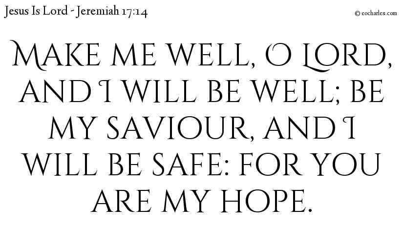 Make me well, O Lord, and I will be well; be my saviour, and I will be safe: for you are my hope.