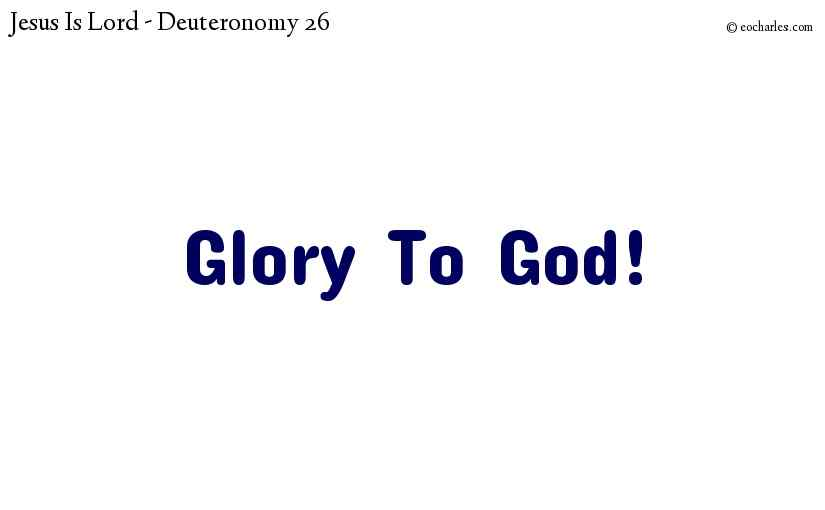 Glory To God!
