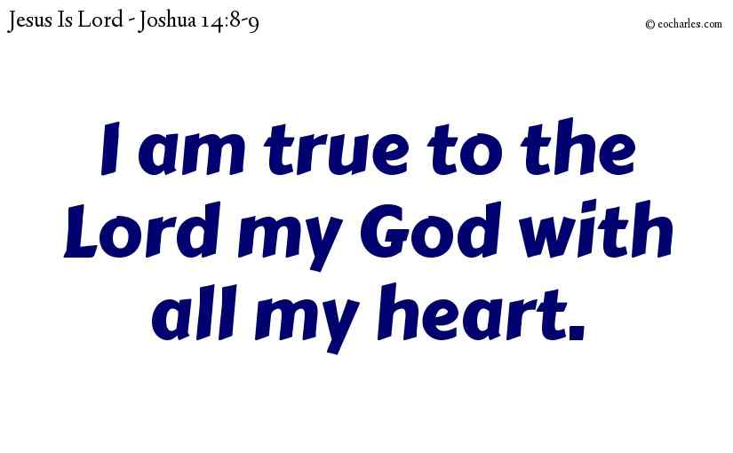 I am true to the Lord my God with all my heart.