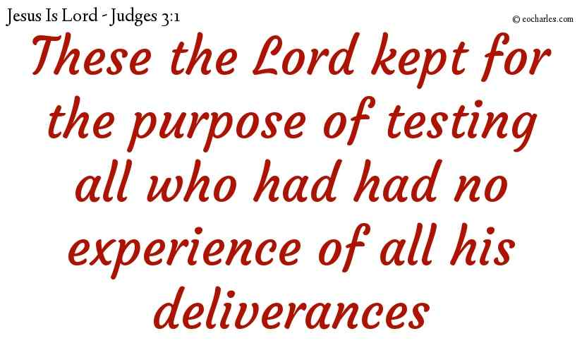 These the Lord kept for the purpose of testing all who had had no experience of all his deliverances