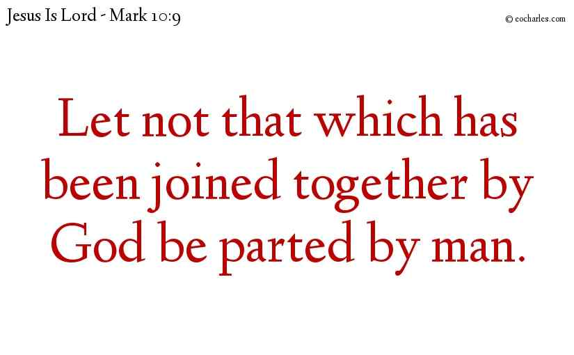 Let not that which has been joined together by God be parted by man.