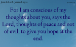 The Lord wants Peace and Hope for us.