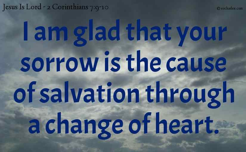 I am glad that your sorrow is the cause of salvation through a change of heart.