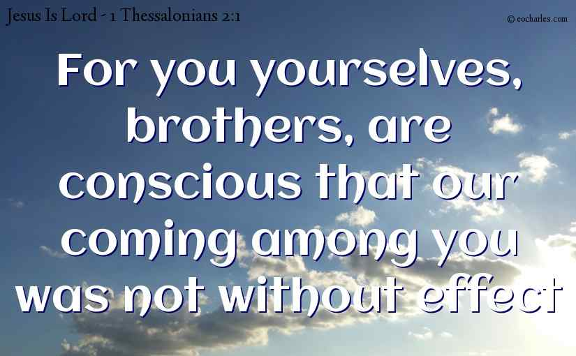 For you yourselves, brothers, are conscious that our coming among you was not without effect