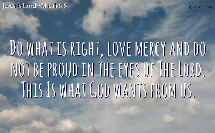 Do what is right, love mercy and do not be proud in the eyes of The Lord.  This Is what God wants from us.