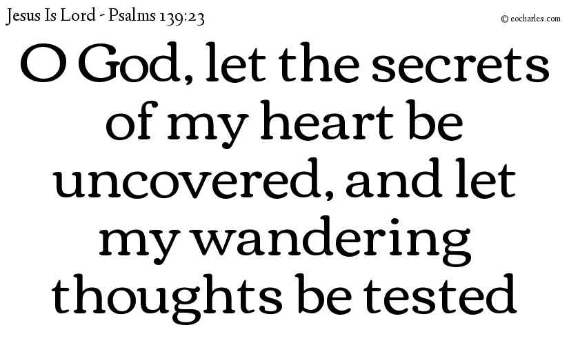 O God, let the secrets of my heart be uncovered, and let my wandering thoughts be tested
