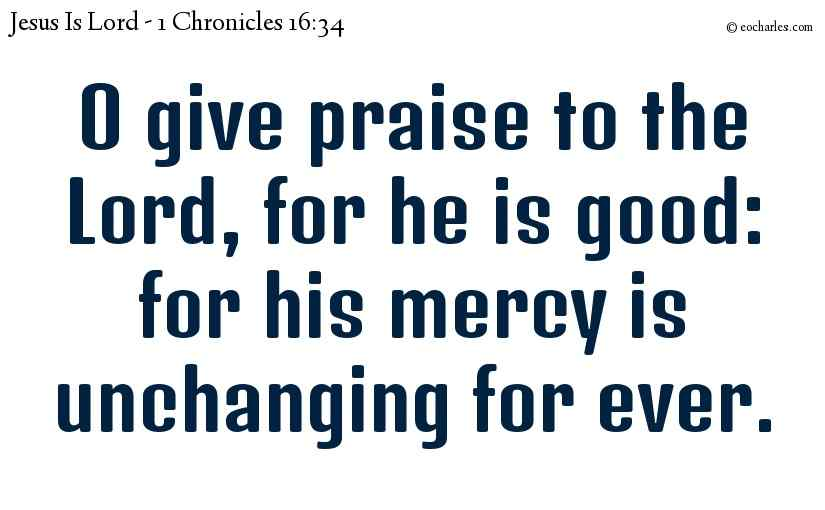 O give praise to the Lord, for he is good: for his mercy is unchanging for ever.