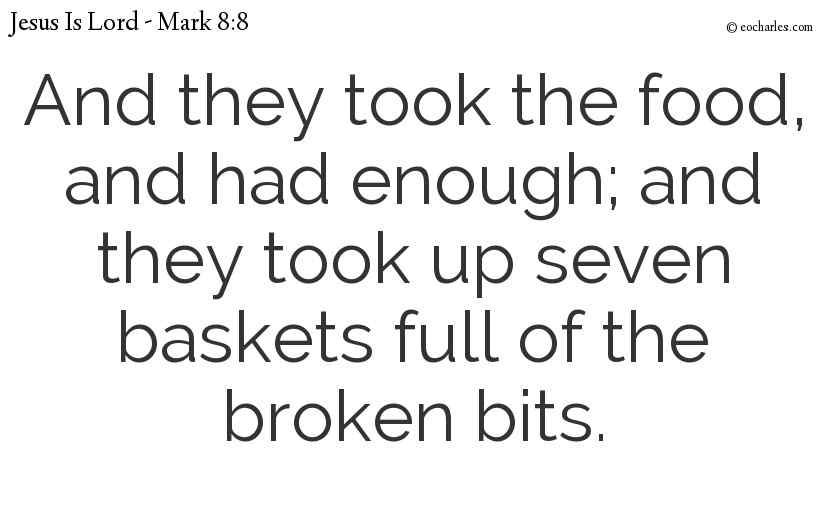 And they took the food, and had enough; and they took up seven baskets full of the broken bits.