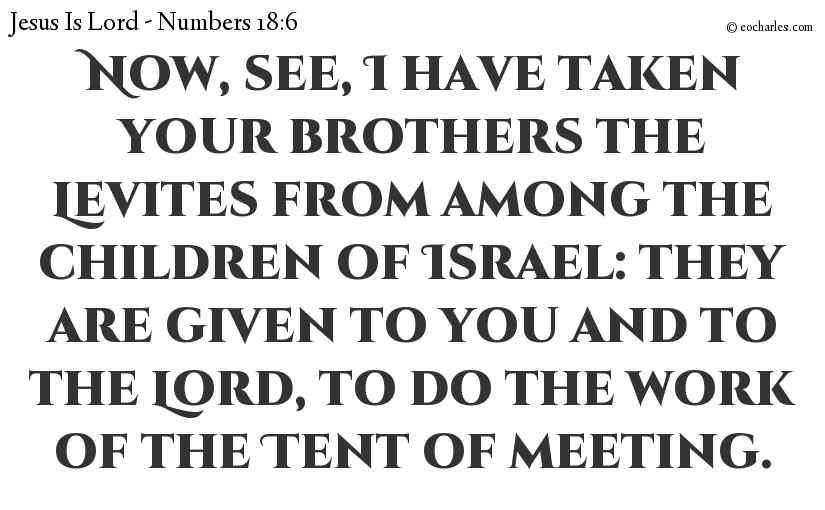Now, see, I have taken your brothers the Levites from among the children of Israel: they are given to you and to the Lord, to do the work of the Tent of meeting.