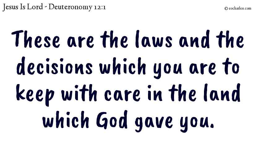 These are the laws and the decisions which you are to keep with care in the land which God gave you.