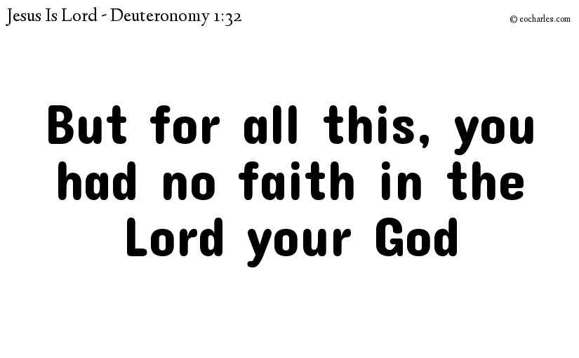 But for all this, you had no faith in the Lord your God