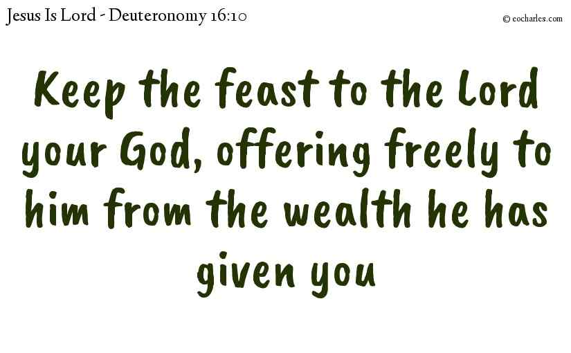 Keep the feast to the Lord your God, offering freely to him from the wealth he has given you