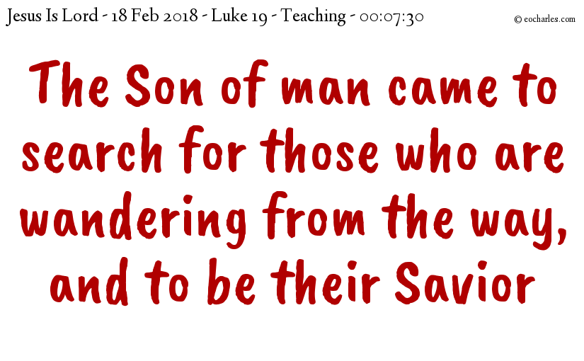 Jesus came for the lost, to be our savior