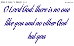 O Lord God: there is no one like you and no other God but you