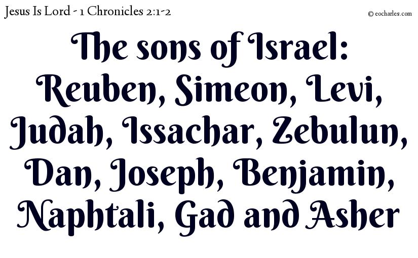 The sons of Israel: Reuben, Simeon, Levi, Judah, Issachar, Zebulun, Dan, Joseph, Benjamin, Naphtali, Gad and Asher
