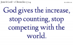 God gives the increase, stop counting.