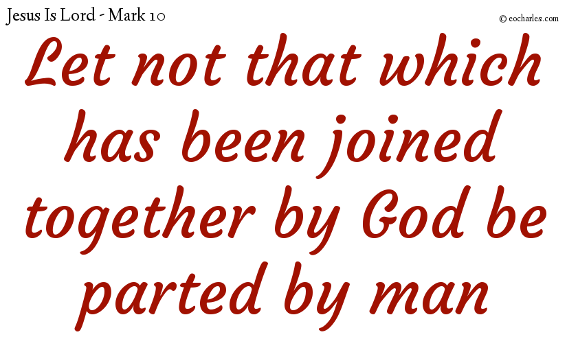 Let not that which has been joined together by God be parted by man