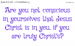 Are you conscious that Jesus Christ is in you?