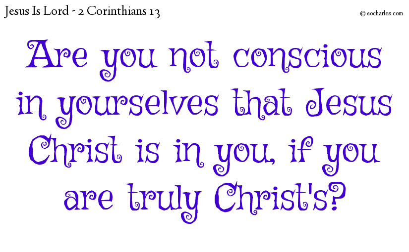 Are you not conscious in yourselves that Jesus Christ is in you, if you are truly Christ's?