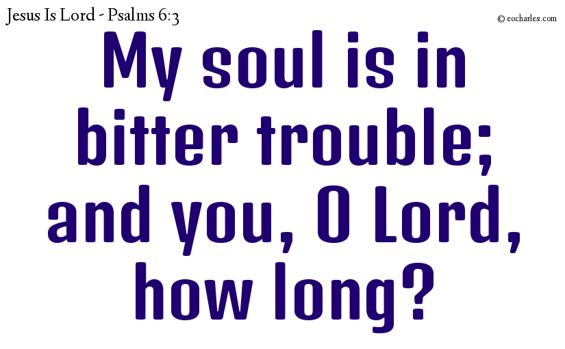 My soul is in bitter trouble; and you, O Lord, how long?