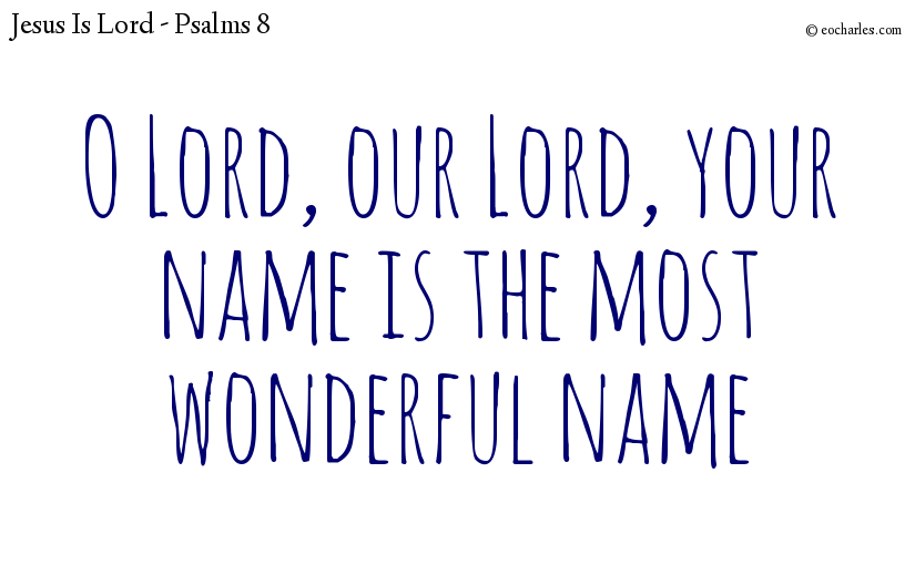 O Lord, our Lord, your name is the most wonderful name