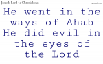 Do not do evil in the eyes of the Lord