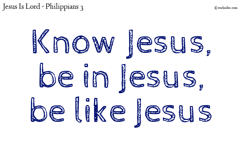 Know Jesus,  be in Jesus,  be like Jesus