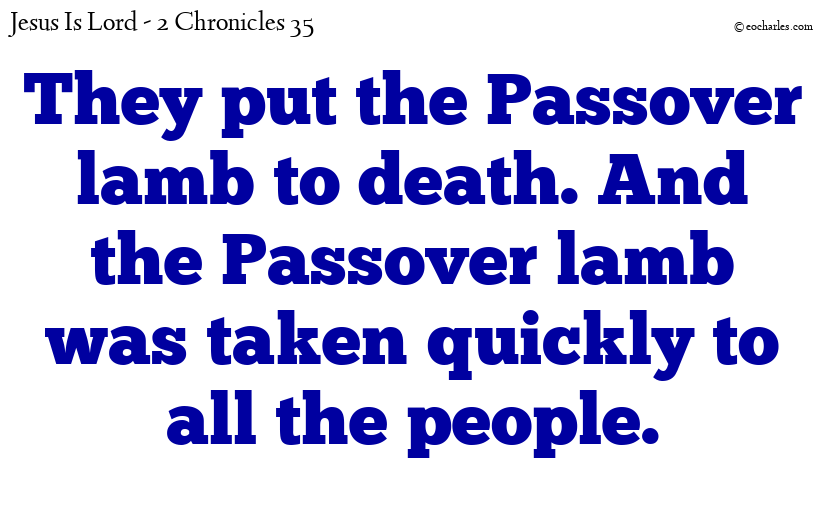 The passover lamb brings us together as one