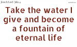 Take the water I give and become a fountain of life