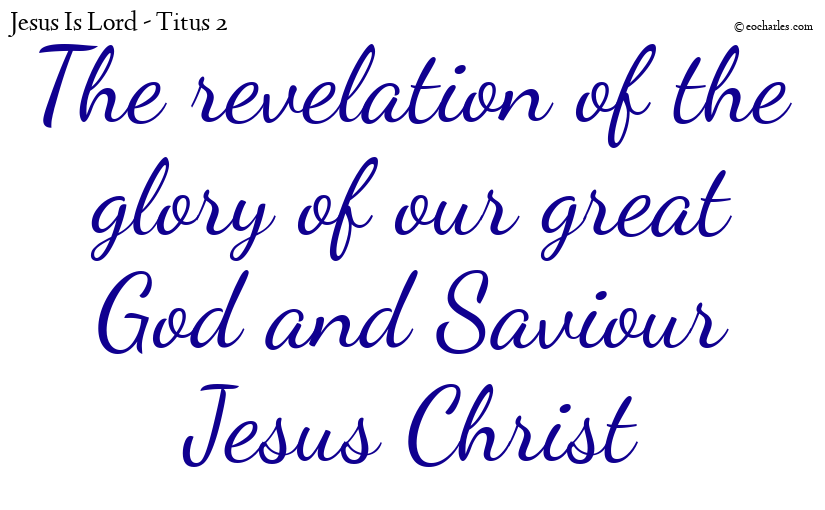 The revelation of the glory of our great God and Saviour Jesus Christ