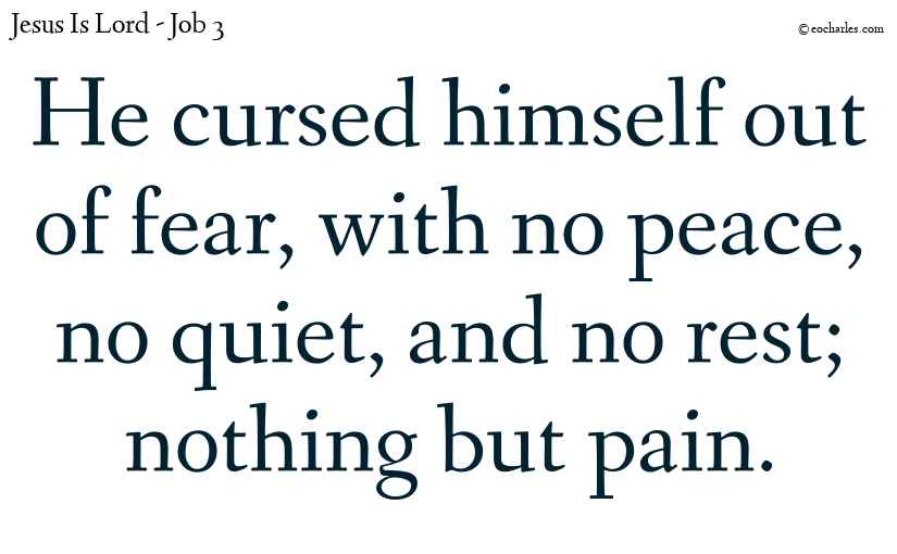 Instead of cursing God he cursed himself