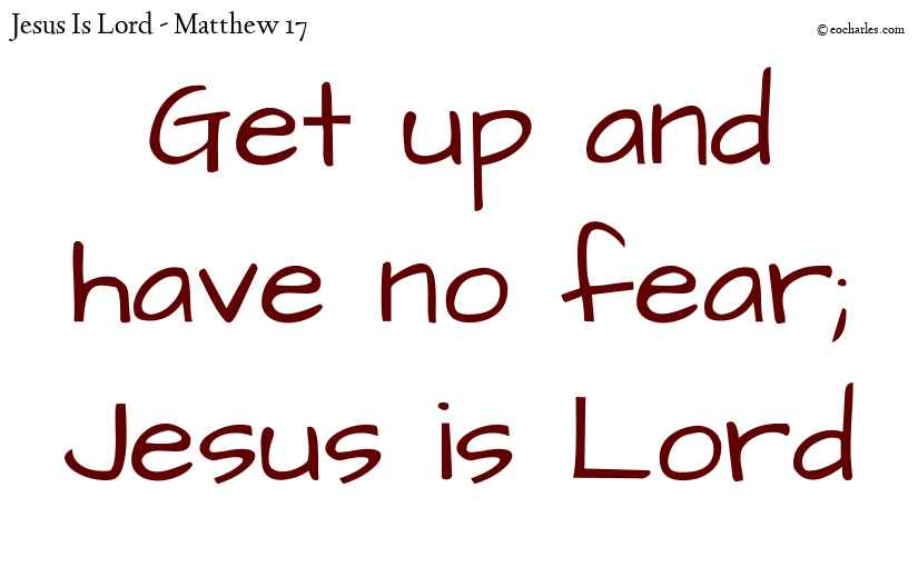 Get up and have no fear; Jesus is Lord