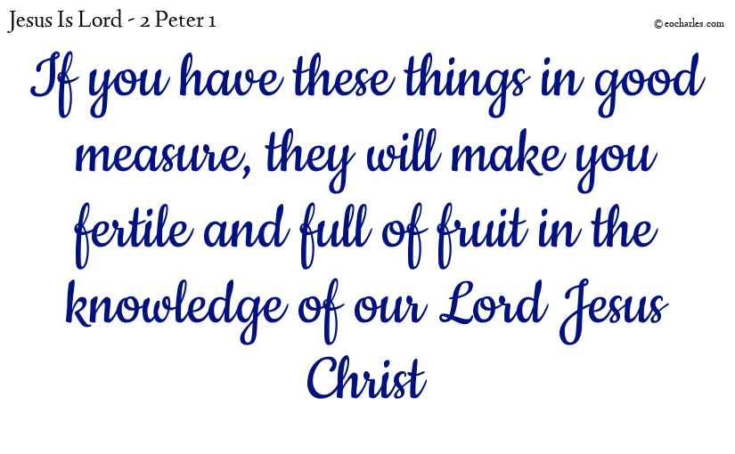 A fruitful life in our Lord Jesus Christ