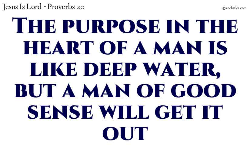 The purpose in the heart of a man is like deep water