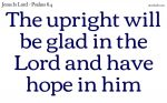 The upright will be glad in the Lord