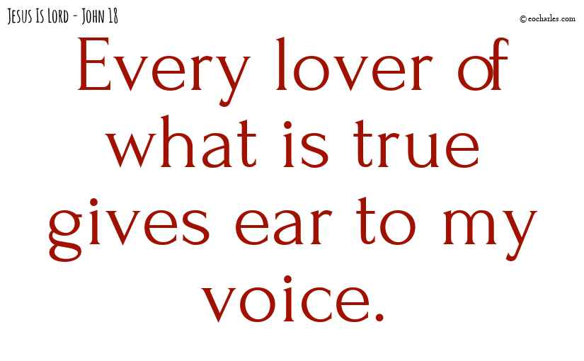 Every lover of what is true gives ear to my voice