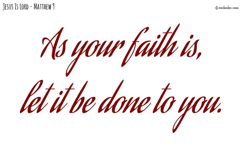 As your faith is
